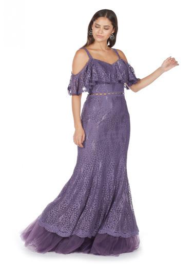 Pierre Cardin Dantel Askılı Uzun Balık Abiye Elbise Lila